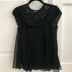 Nanette Lepore Black Lace and Silk Top Size 2